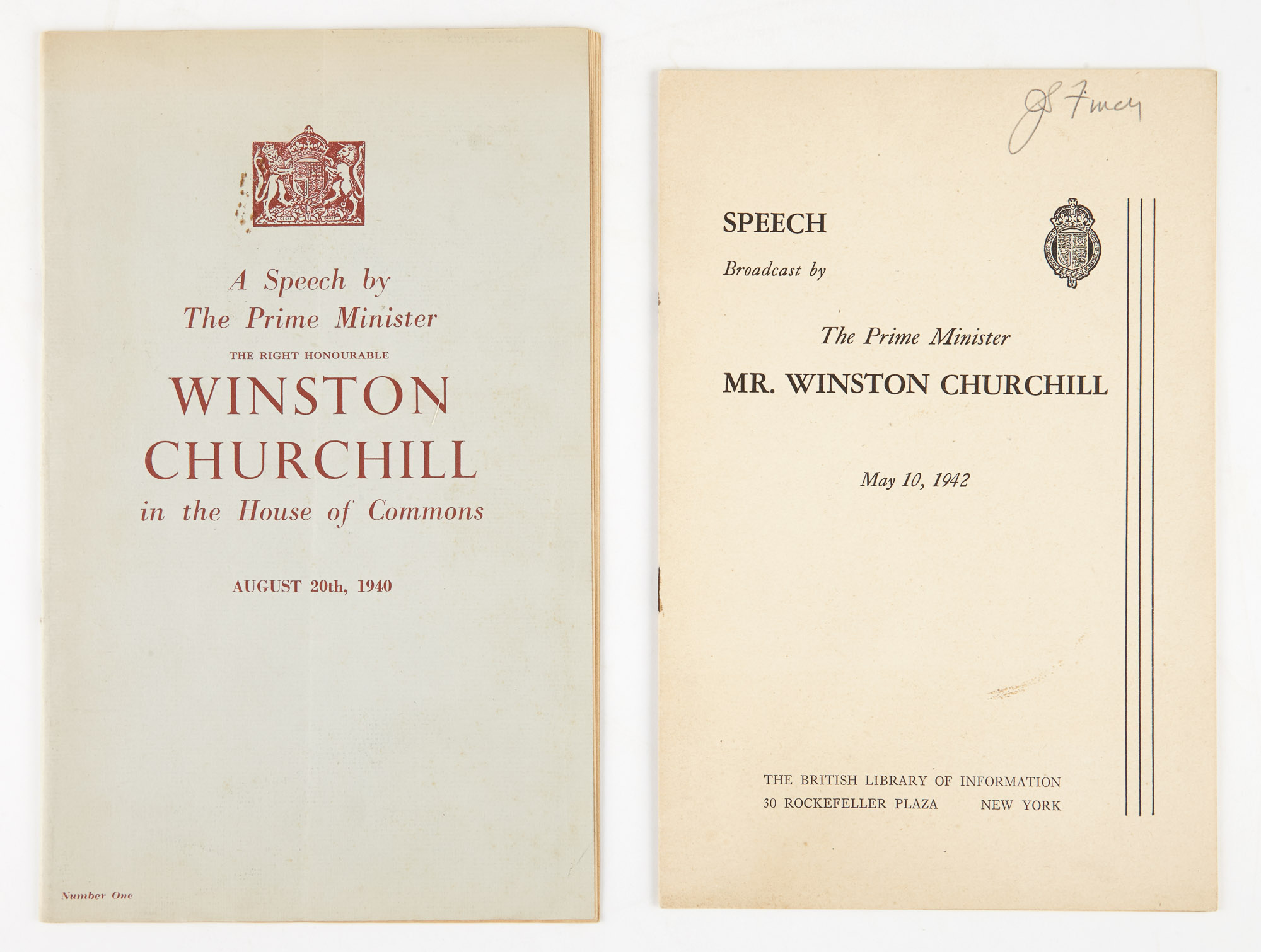 Lot image - CHURCHILL, WINSTON, Sir. A Speech by the Prime Minister The Right Honourable Winston Churchill in the House of Commons August 20th, 1940.