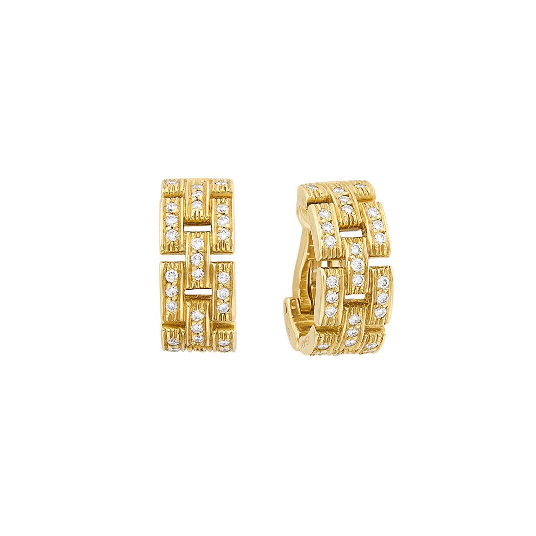 Lot image - Pair of Gold and Diamond Panther Hoop Earrings, Cartier
