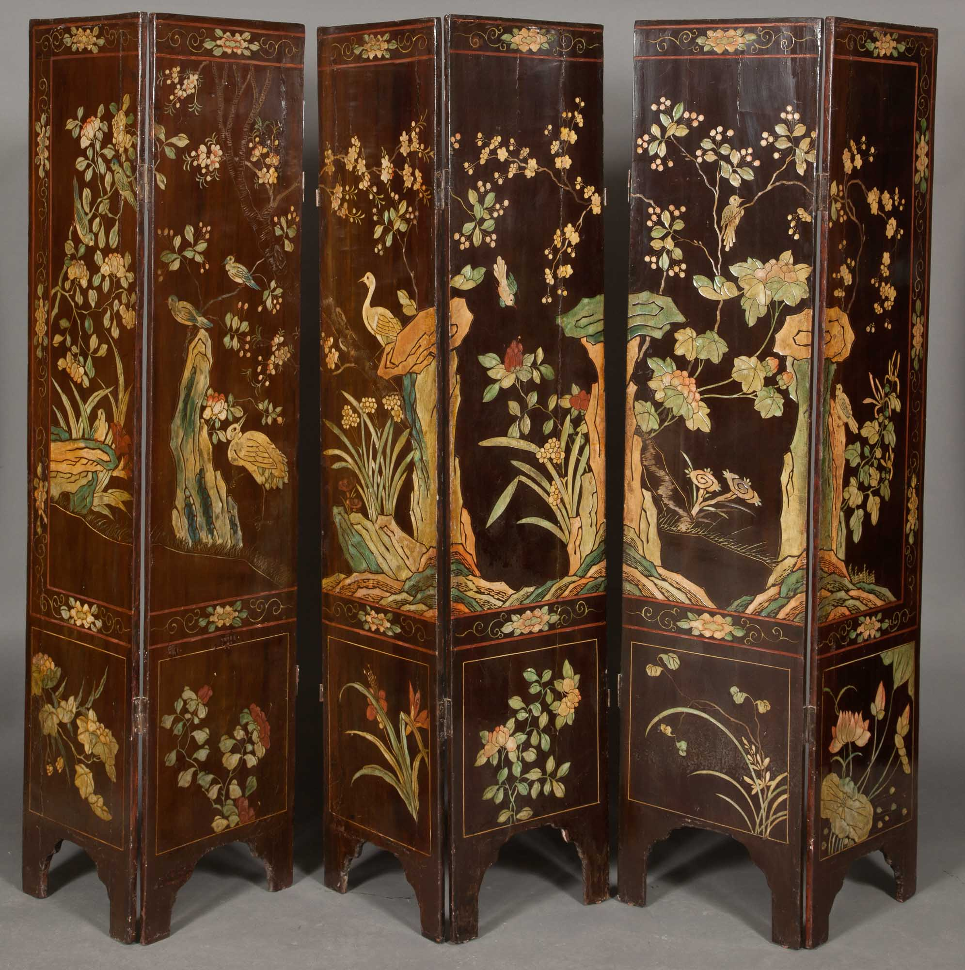 Lot image - Chinese Brown and Polychrome Coromandel Lacquer Six Panel Screen