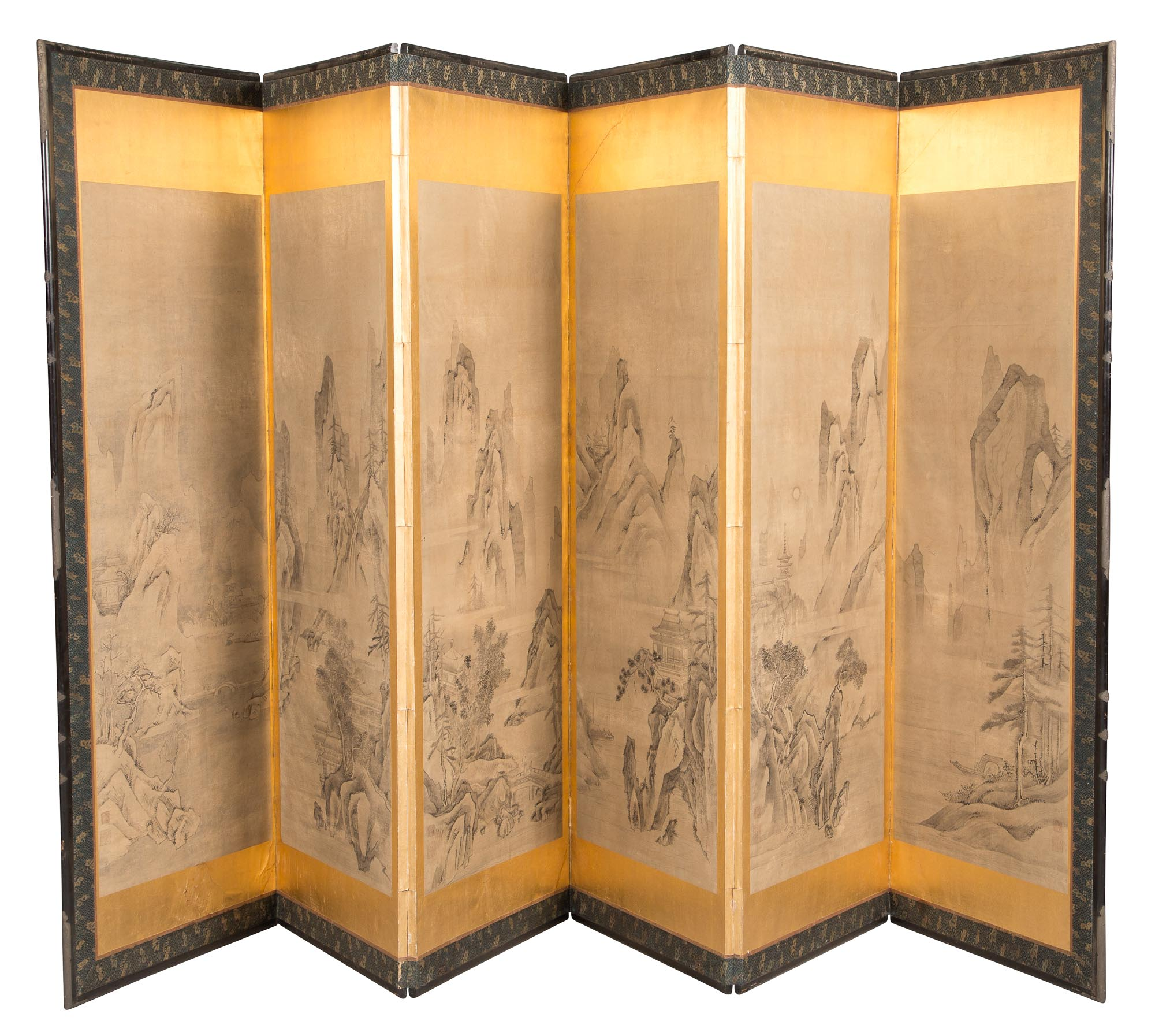 Lot image - Japanese Painted Paper and Silk-Lined Six-Panel Screen