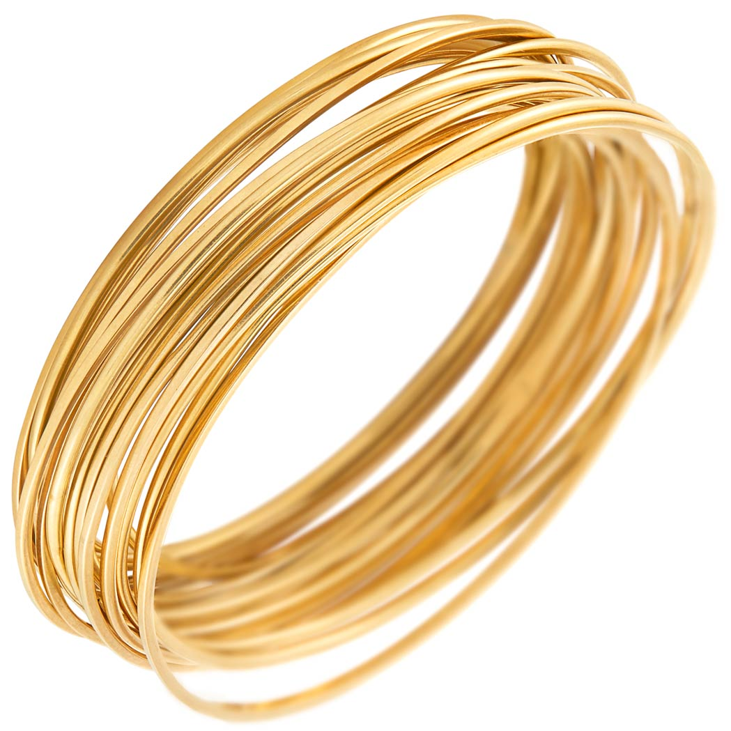 Lot image - Twenty Gold Wire Bangle Bracelets