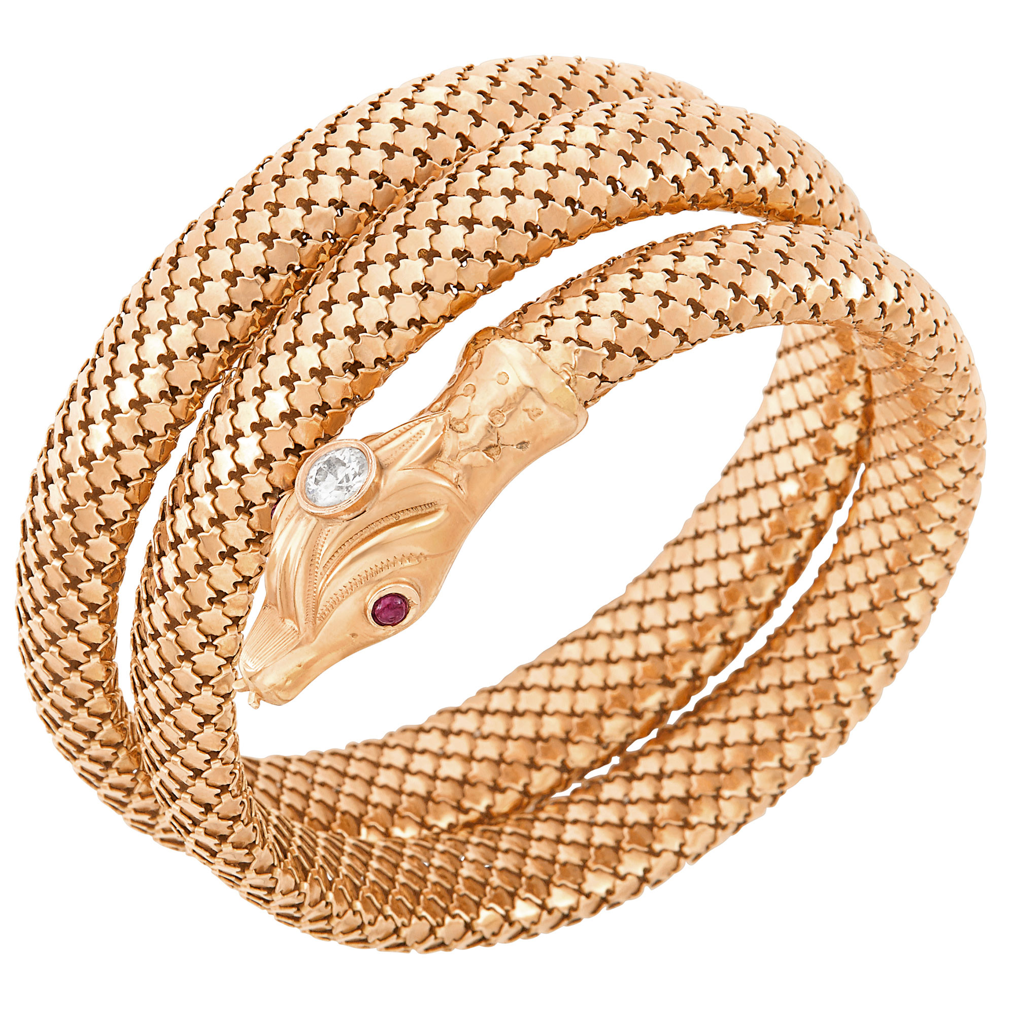Lot image - Coiled Rose Gold, Diamond and Cabochon Ruby Snake Bracelet