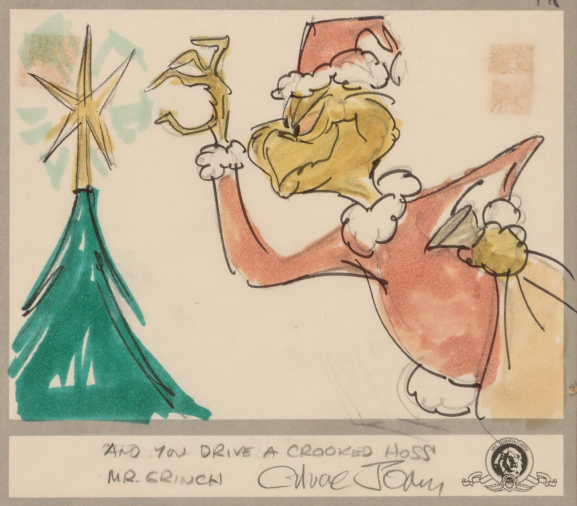Lot image - [ANIMATION ART]  Group of four Chuck Jones storyboards from How the Grinch Stole Christmas!