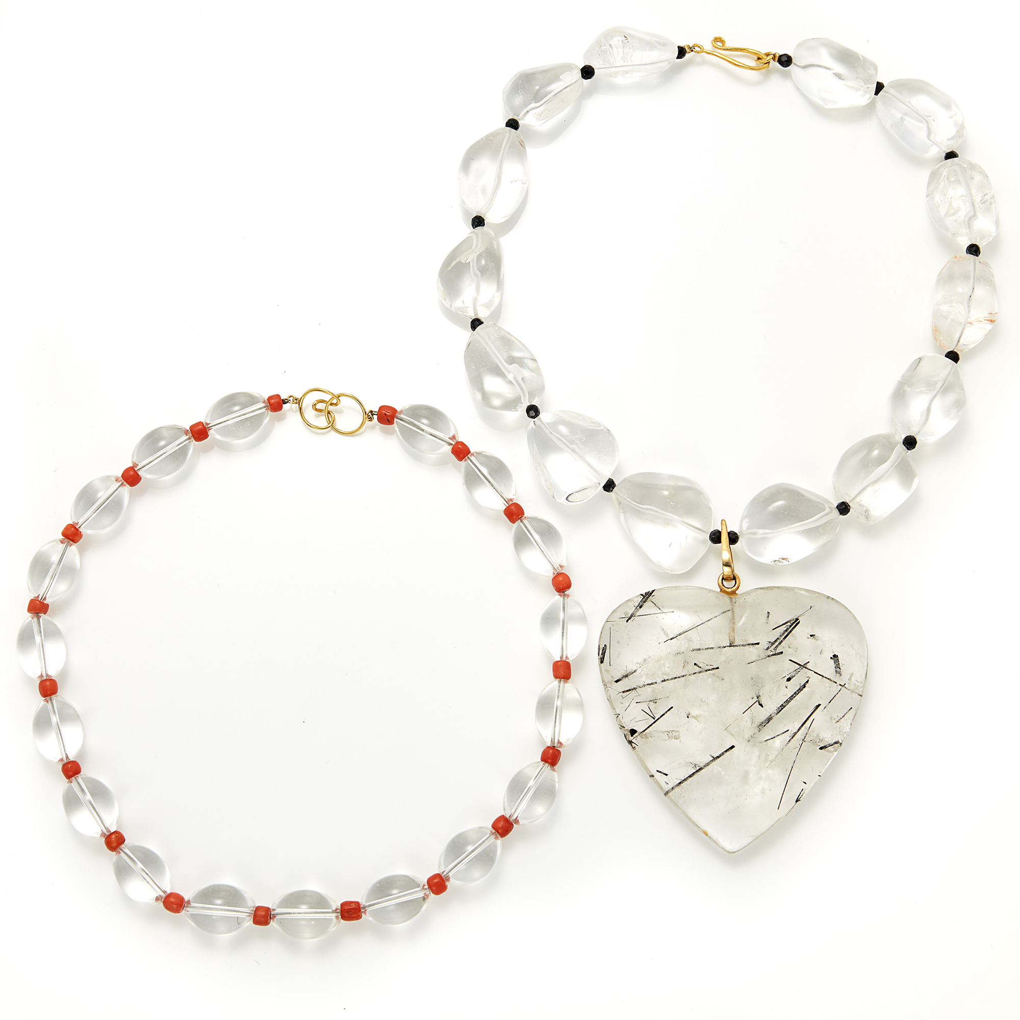 Lot image - Tourmalinated Quartz, Rock Quartz and Black Onyx Bead Necklace and Rock Crystal and Coral Bead Necklace