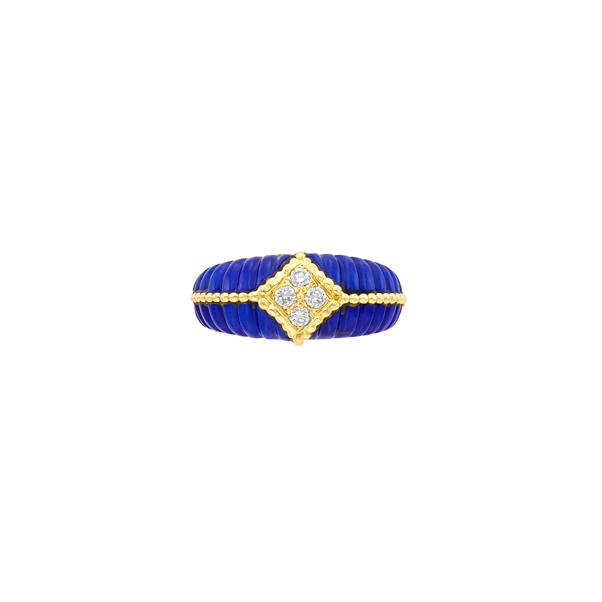 Lot image - Gold, Fluted Lapis and Diamond Ring, Van Cleef & Arpels, France