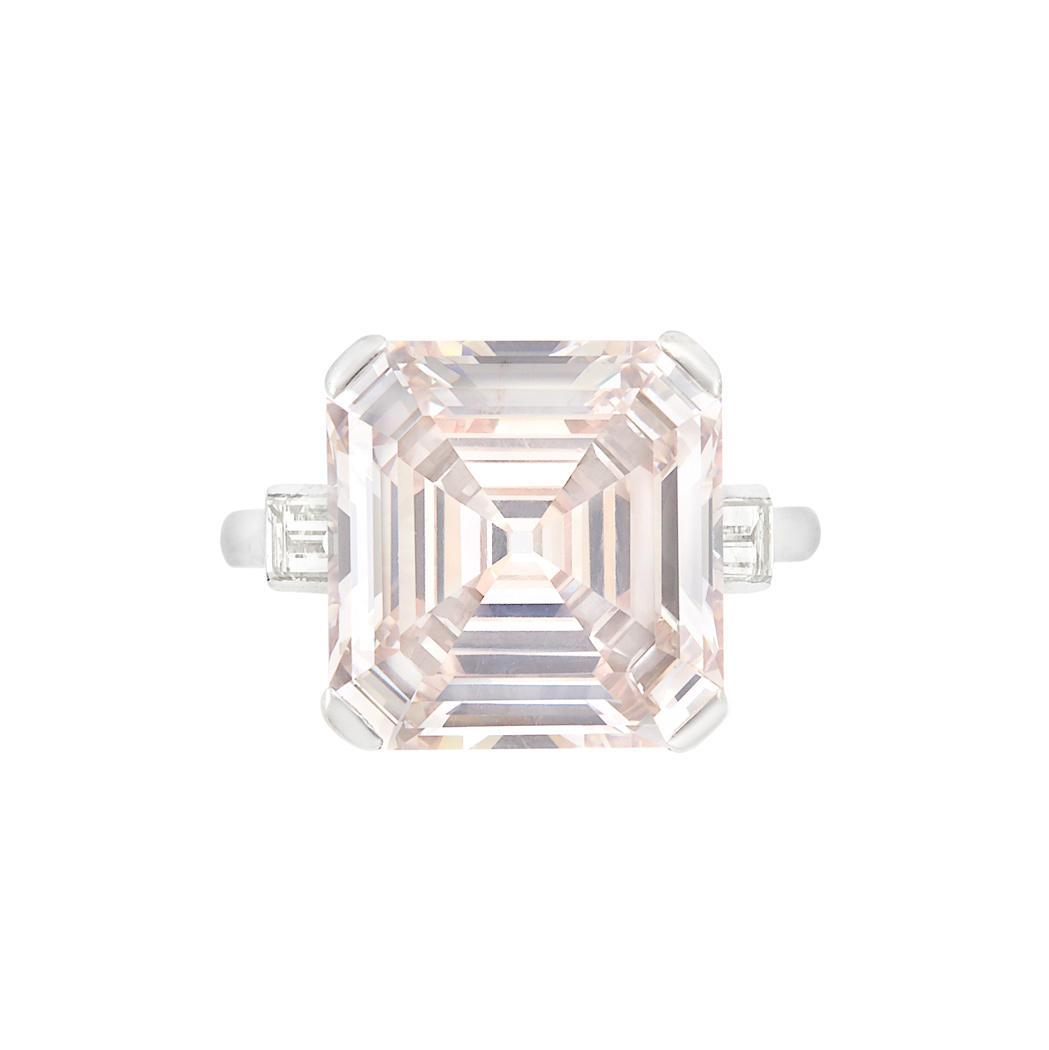 Lot image - Platinum and Light Brown-Pink Diamond Ring