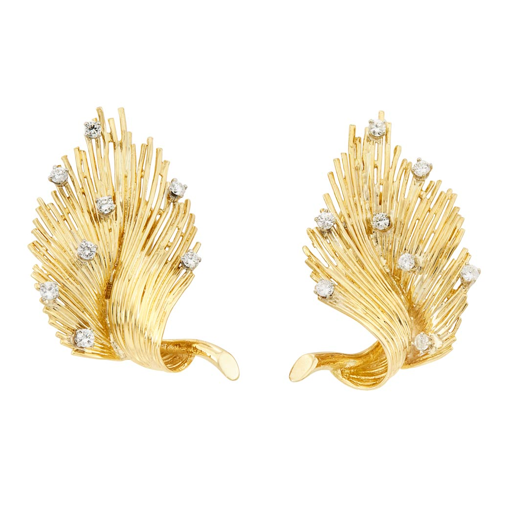 Lot image - Pair of Two-Color Gold and Diamond Leaf Earclips