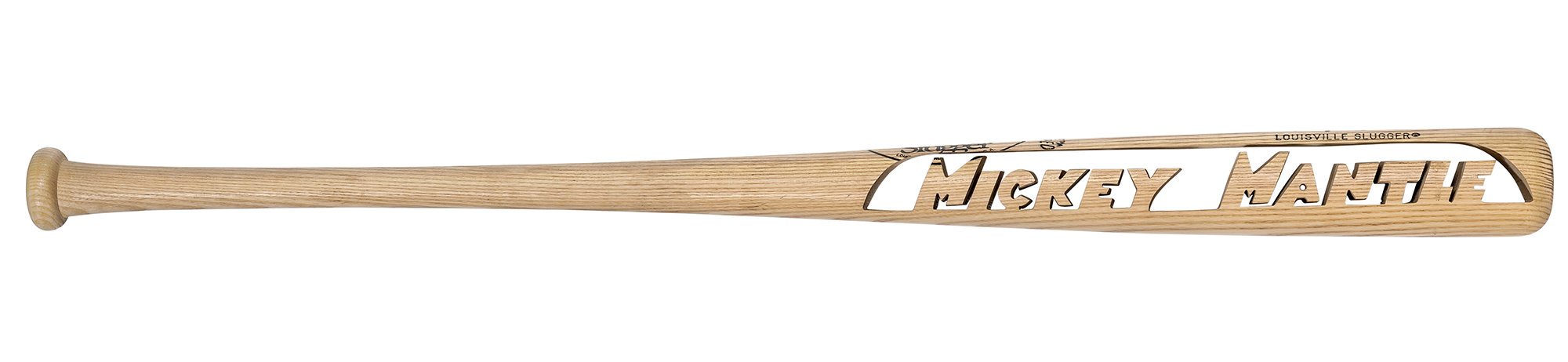 Lot image - Mickey Mantle Bat Carved with Mickey Mantle in Openwork Letters
