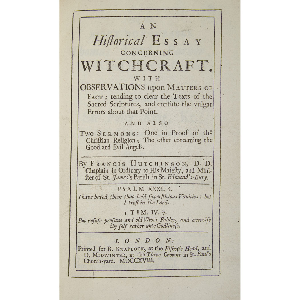 witchcraft hutchinson francis an historical essay concerning lot 16bp01 202