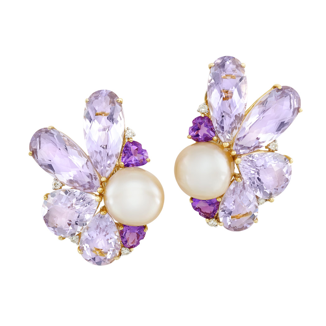 Lot image - Pair of Gold, Semi-Baroque Peach Freshwater Button Pearl, Amethyst and Diamond Earclips