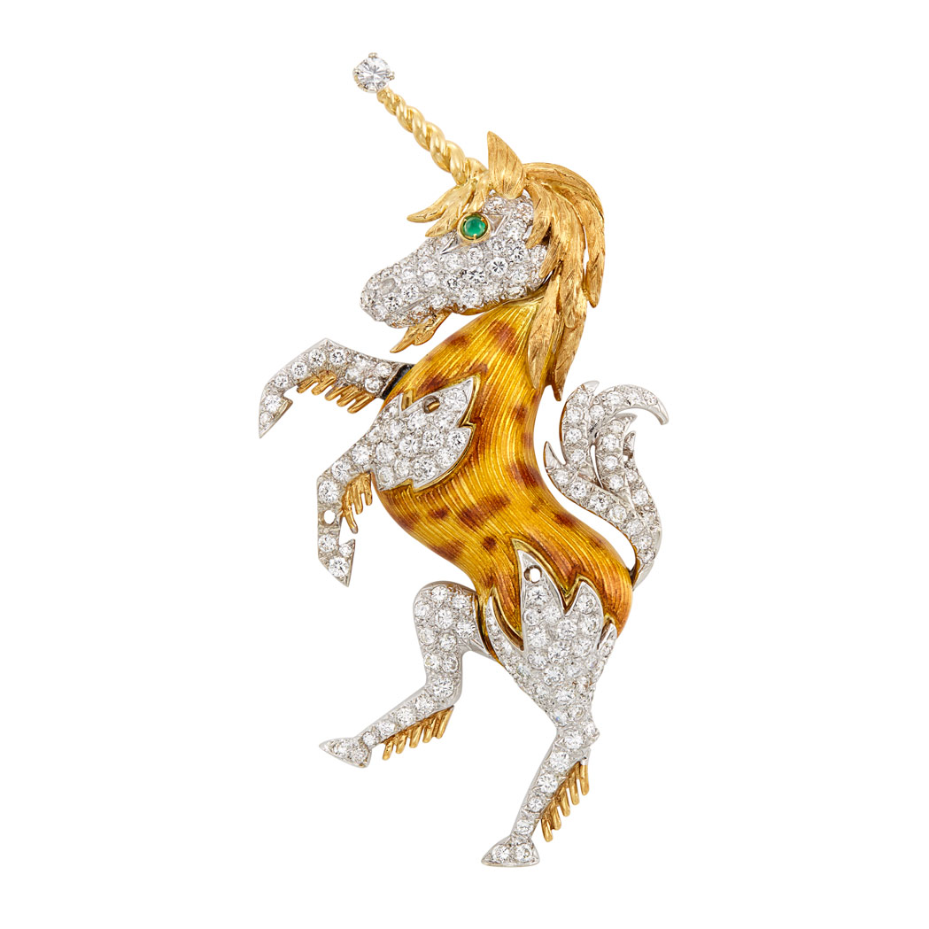 Lot image - Two-Color Gold, Enamel and Diamond Unicorn Brooch