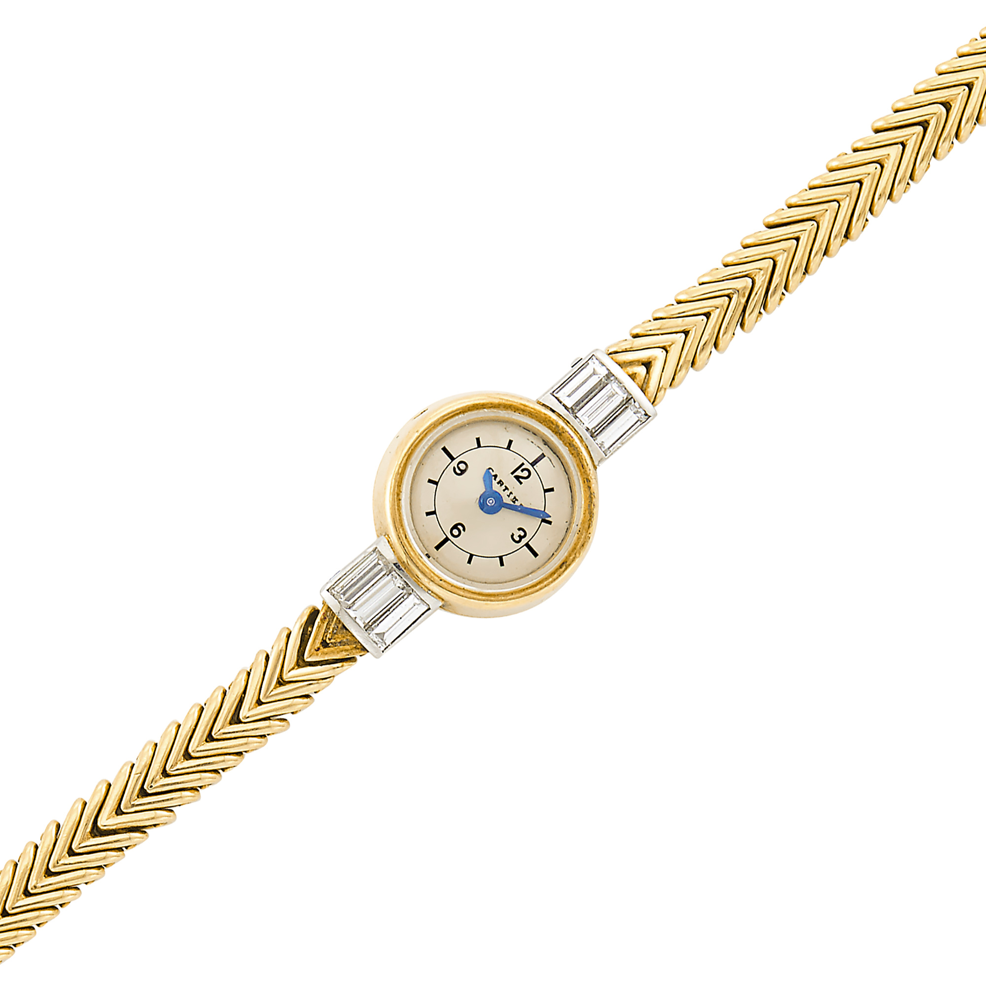 Lot image - Gold, Platinum and Diamond Herringbone Link Wristwatch, Cartier, France