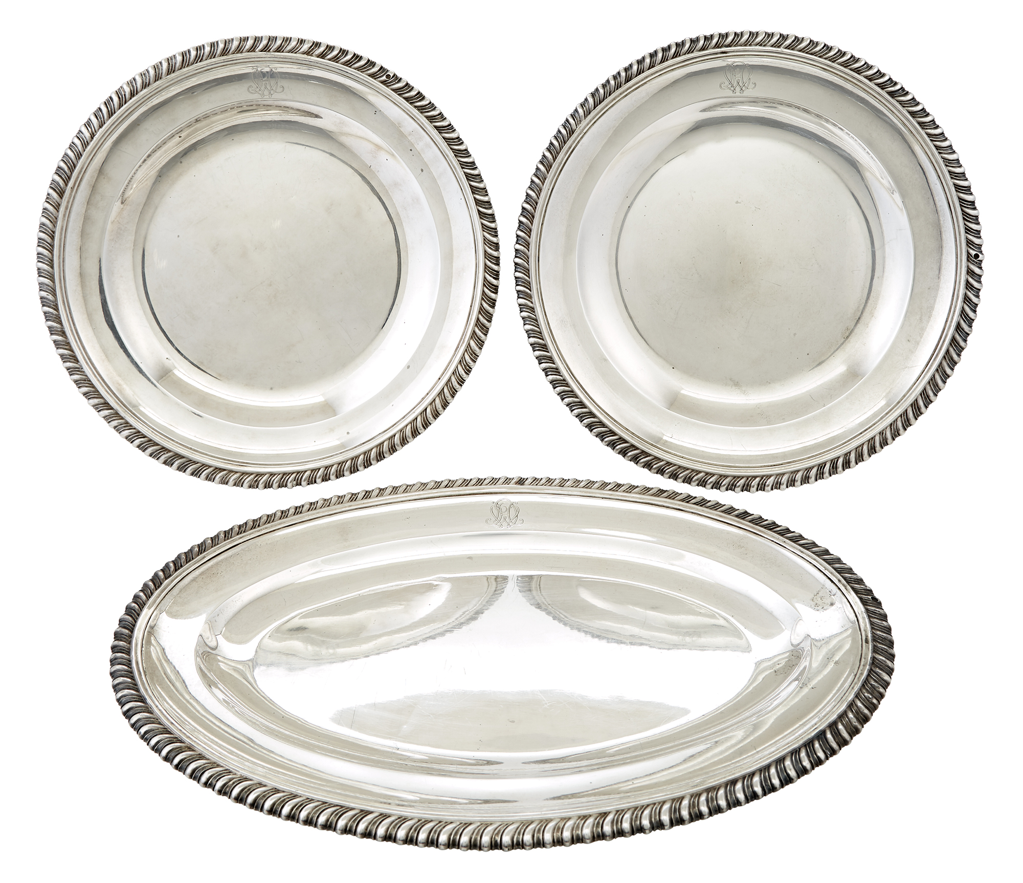 Lot image - Pair of French Sterling Silver Dishes and Platter