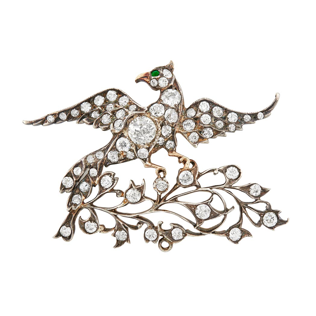 Lot image - Antique Silver-Topped Gold, Diamond and Emerald Bird Brooch