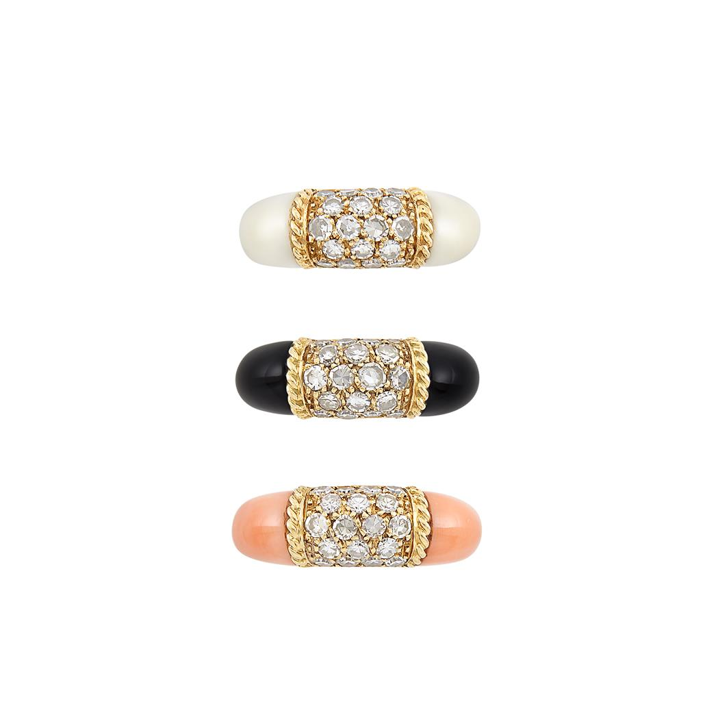 Lot image - Three Gold, White Coral, Coral, Black Onyx and Diamond Philippine Rings, Van Cleef & Arpels, France