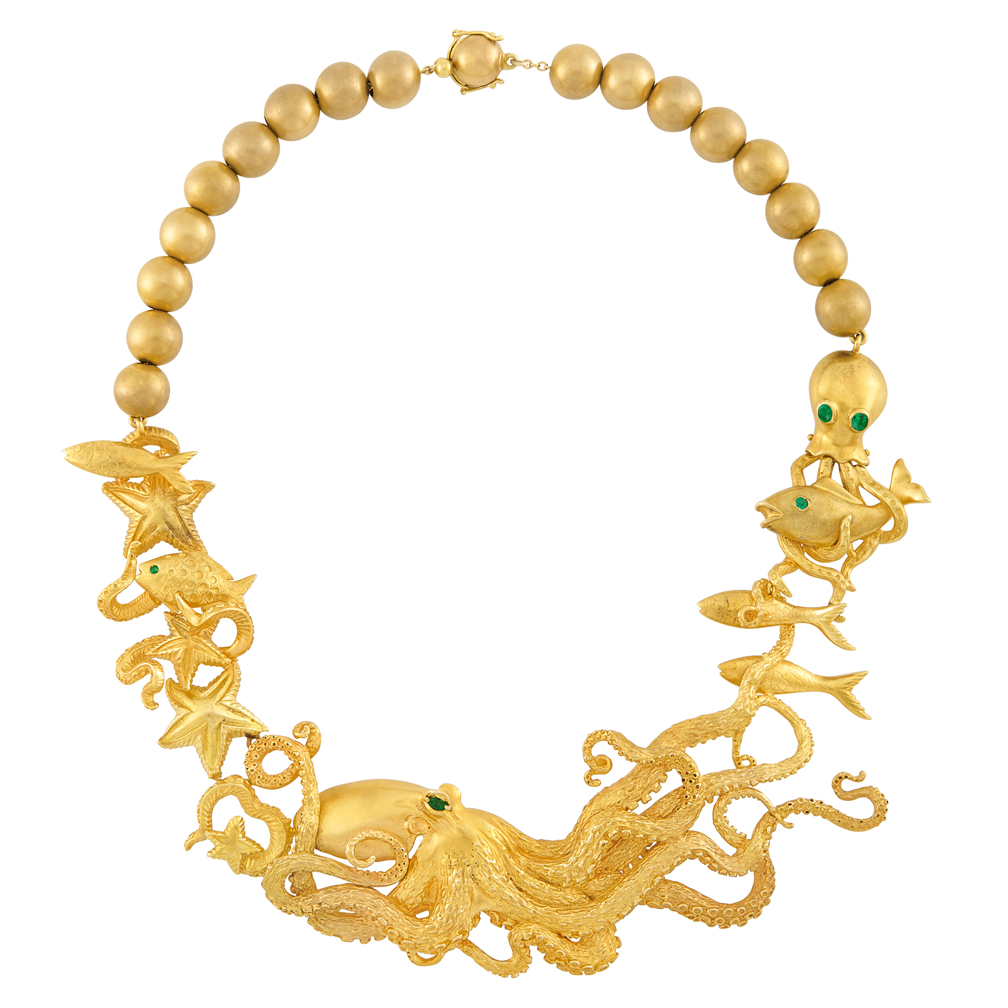 Lot image - Gold, Gold Bead and Emerald Octopus Necklace