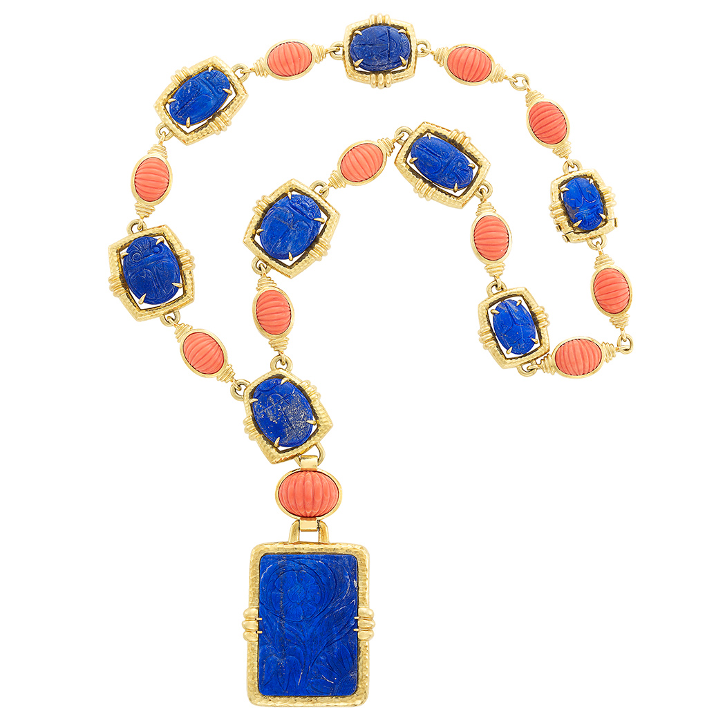 Lot image - Gold, Carved Lapis and Coral Pendant-Necklace, David Webb