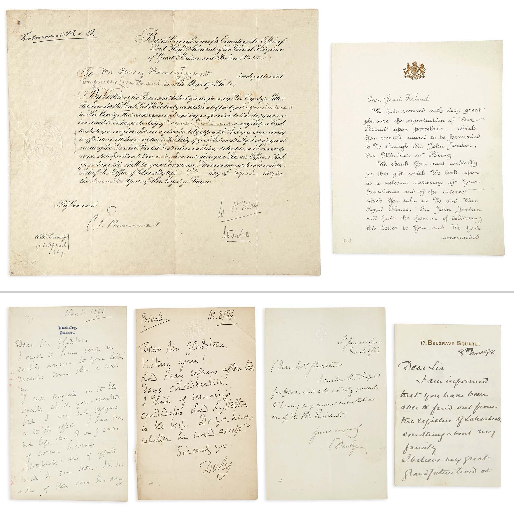 Lot image - [ENGLISH HISTORICAL PERSONAGES]  Small group of autograph letters and documents.