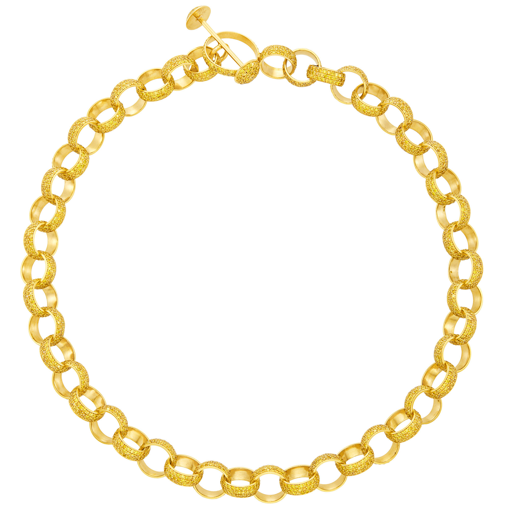 Lot image - Gold and Yellow Diamond Circle Link Necklace, by Jacob & Co.