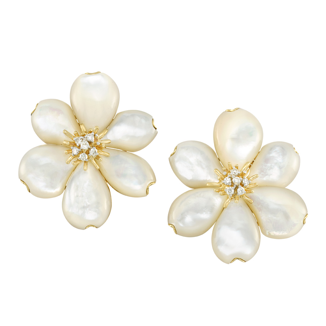 Lot image - Pair of Gold, Mother-of-Pearl and Diamond Flower Earclips