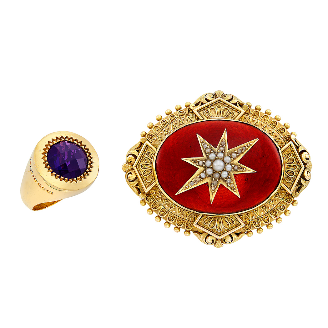 Lot image - Antique Gold, Enamel and Split Pearl Pendant-Brooch and Metal and Purple Glass Ring, Rebecca