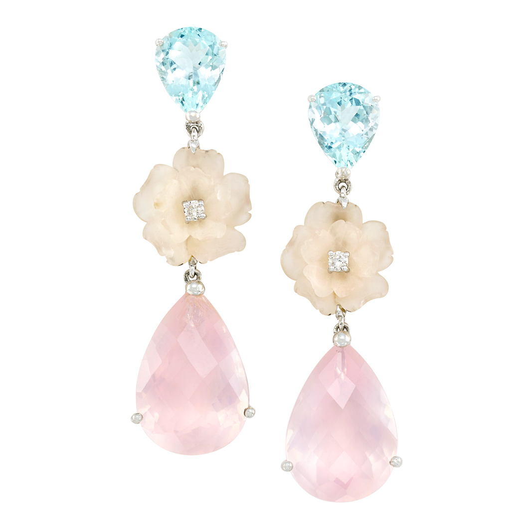 Lot image - Pair of White Gold, Aquamarine, Rose Quartz and Diamond Pendant-Earclips