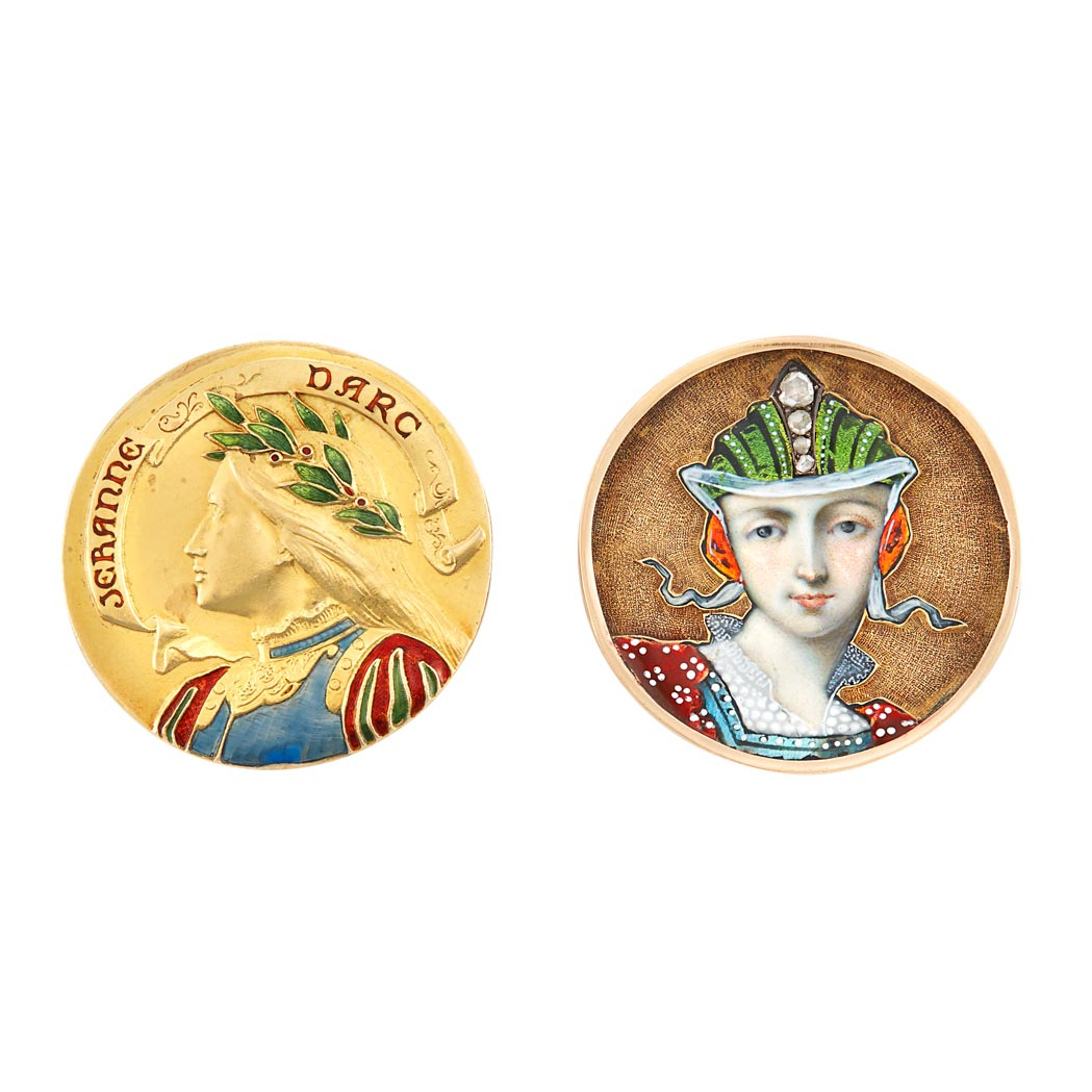 Lot image - Antique Gold and Enamel Pin, Jeranne Darc and Antique Gold, Enamel and Diamond Portrait Pin