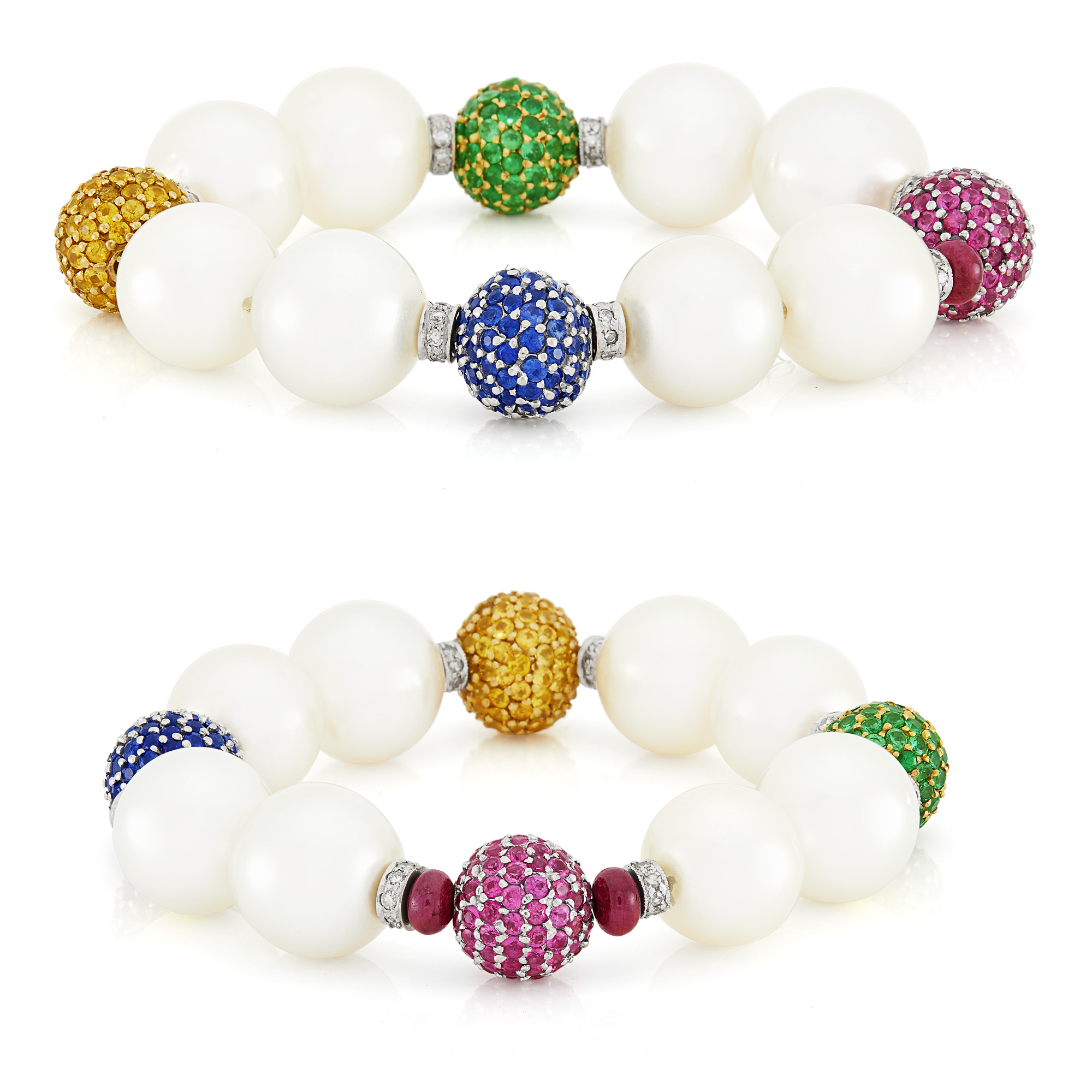Lot image - Pair of South Sea Cultured Pearl, White Gold, Gem-Set, Diamond and Ruby Bead Bracelets