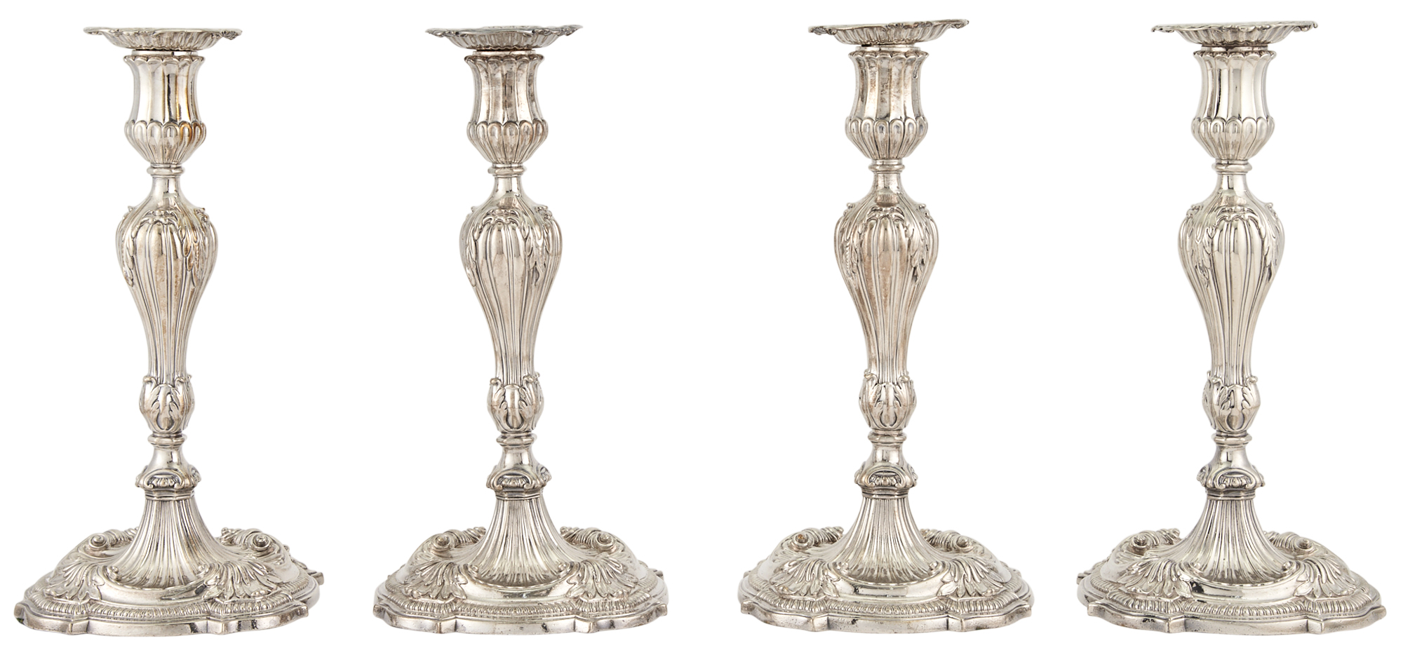 Lot image - Set of Four George III Sterling Silver Candlesticks