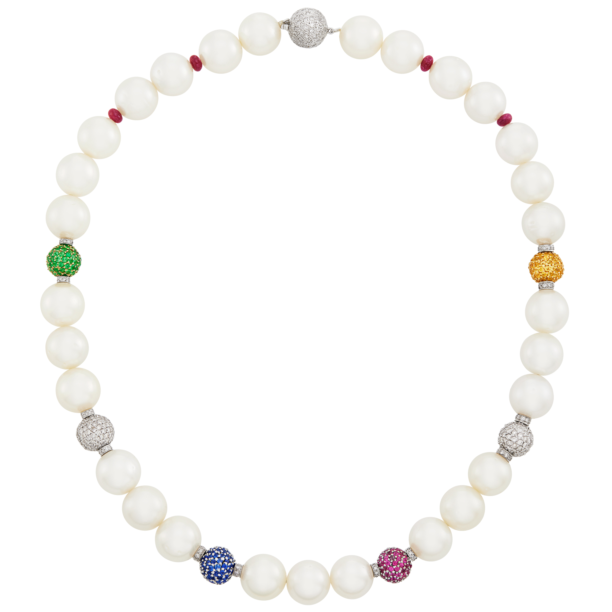 Lot image - White Gold, South Sea Cultured Pearl, Gem-Set, Diamond and Ruby Bead Necklace