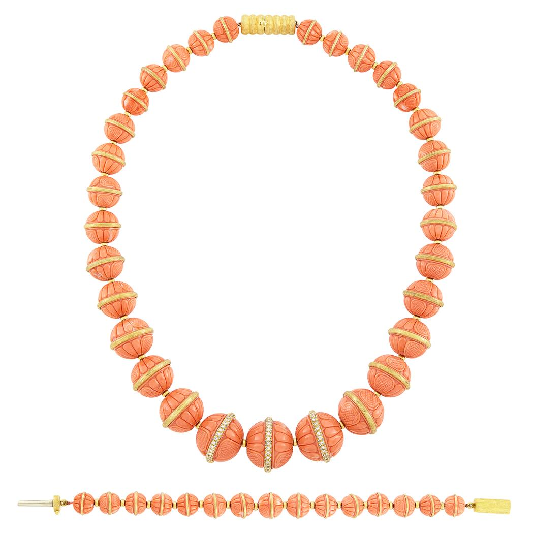 Lot image - Carved Coral, Gold and Diamond Necklace and Bracelet, Henry Dunay