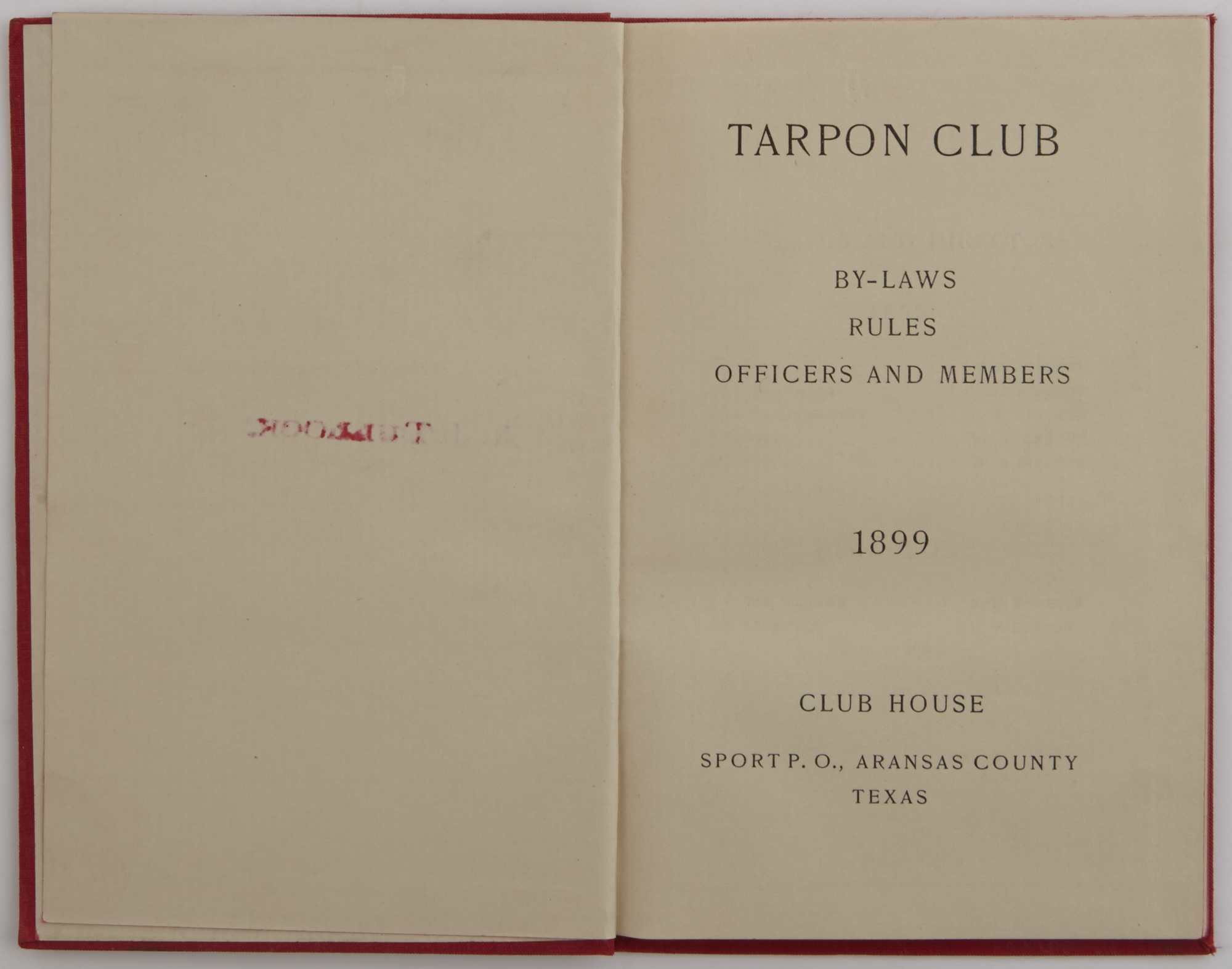 Lot image - [TARPON]  Tarpon Club By-Laws, Rules, Officer and Members.