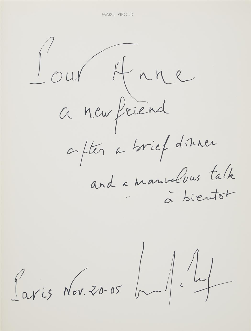 Lot image - [SIGNED PHOTOBOOKS]  Group of three signed or inscribed volumes.