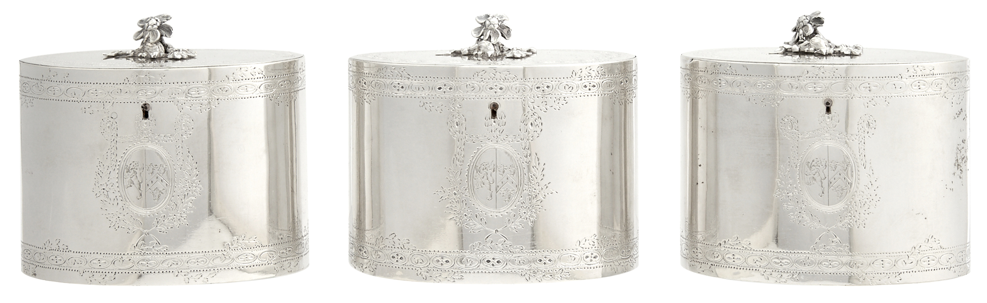 Lot image - Set of Three George III Sterling Silver Tea Caddies in Fitted Burlwood and Satinwood Case