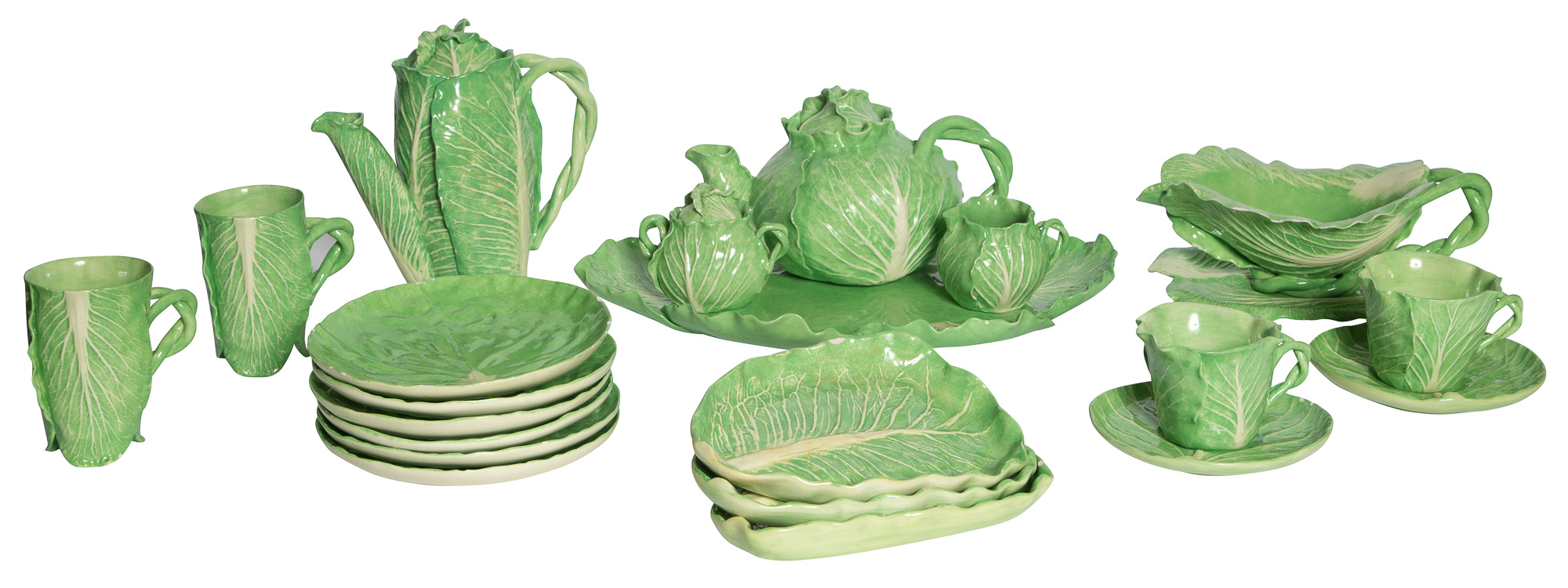 Lot image - Dodie Thayer Green Glazed Cabbage Form Ceramic Table Service