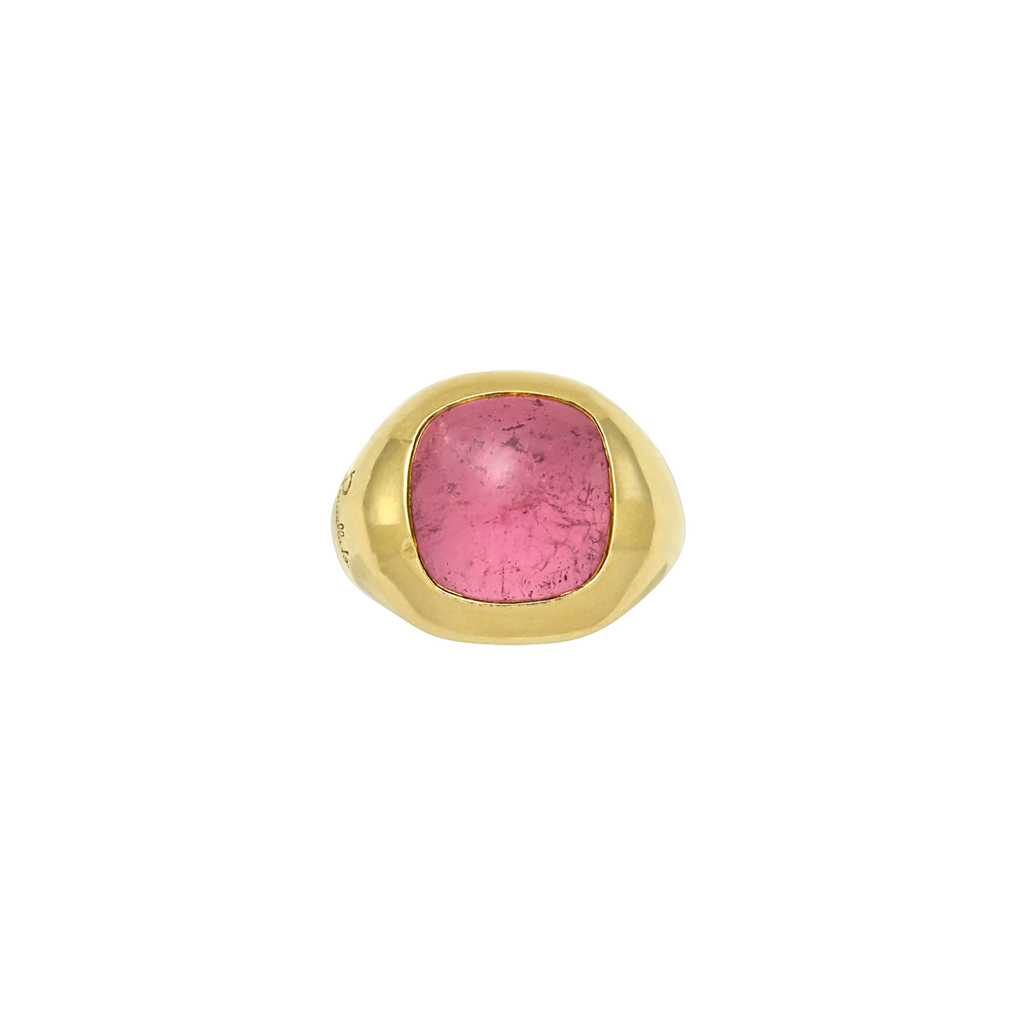 Lot image - Gold and Cabochon Pink Tourmaline Gypsy Ring, Pomellato, France