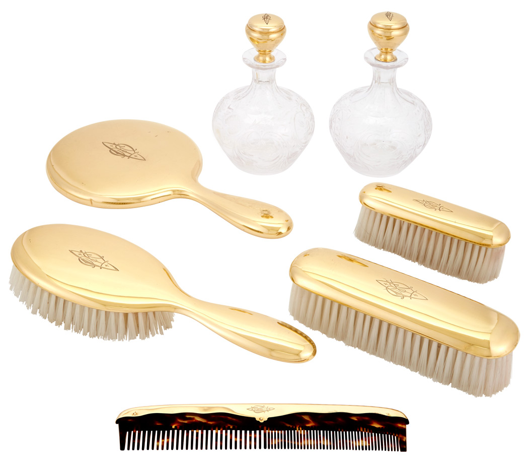 Lot image - Gorham 14 Kt. Gold and Sinclair Wheel Engraved Glass Ladys Dressing Set