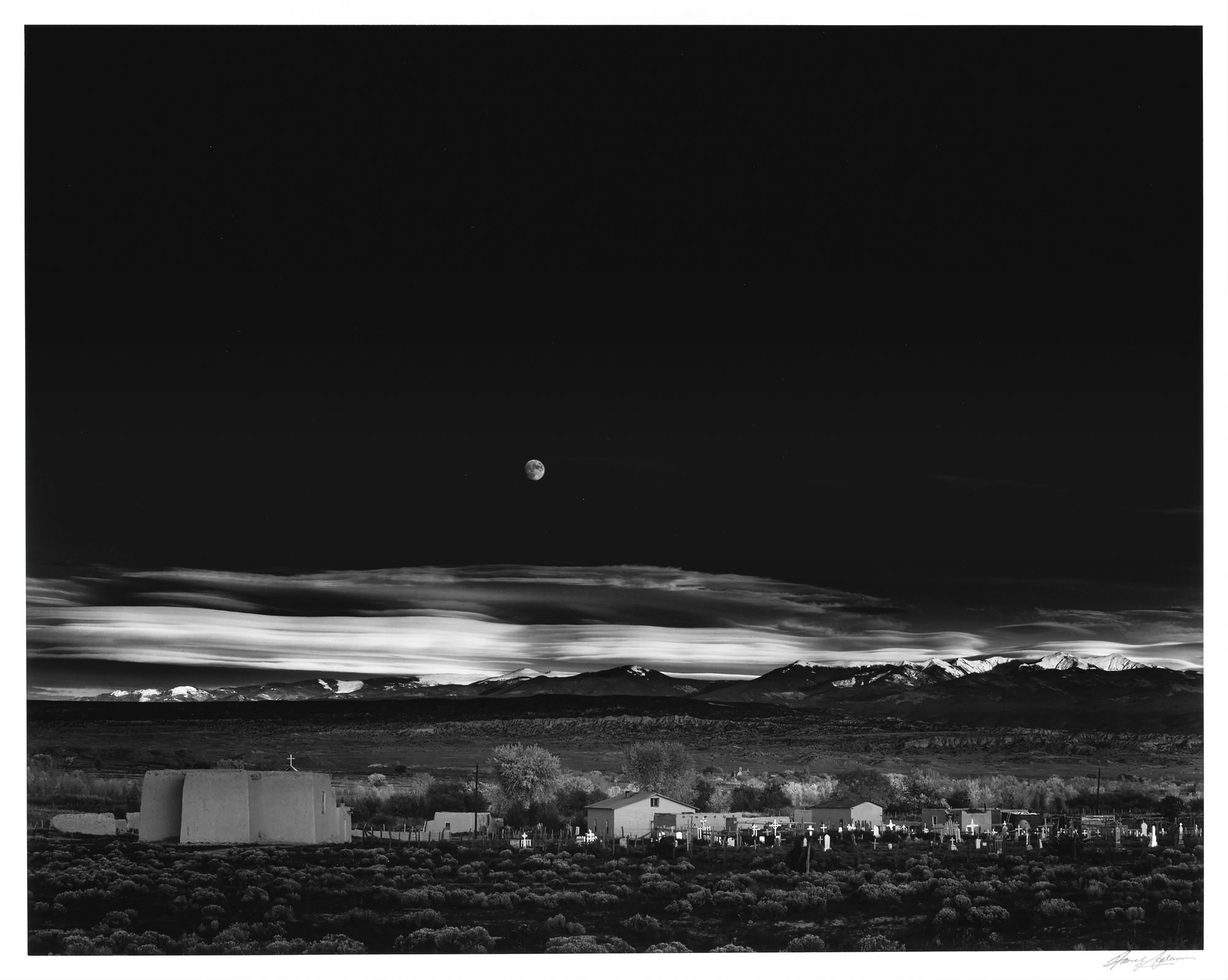 Lot image - ADAMS, ANSEL (1902-1984)  Moonrise, Hernandez, New Mexico, 1941.
