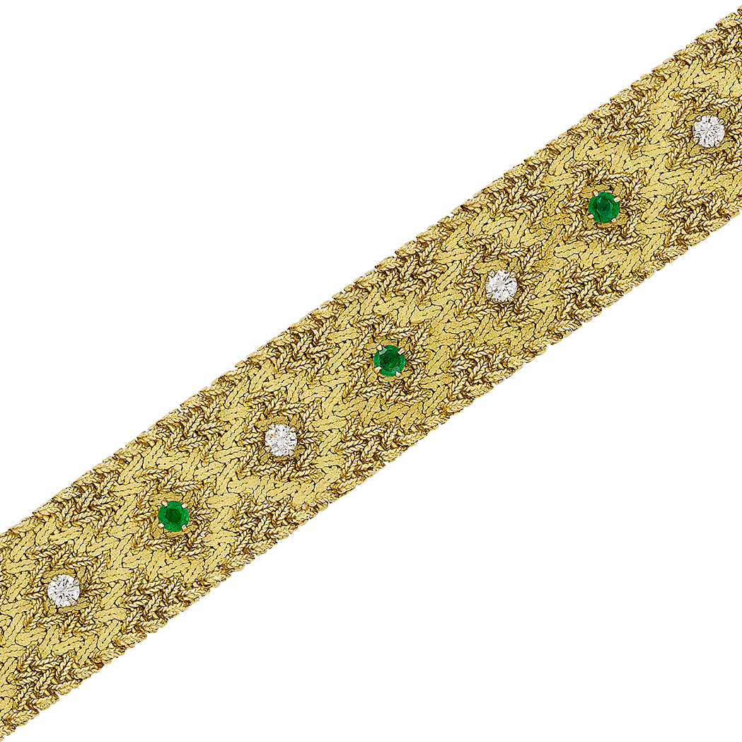 Lot image - Gold, Emerald and Diamond Mesh Bracelet, France