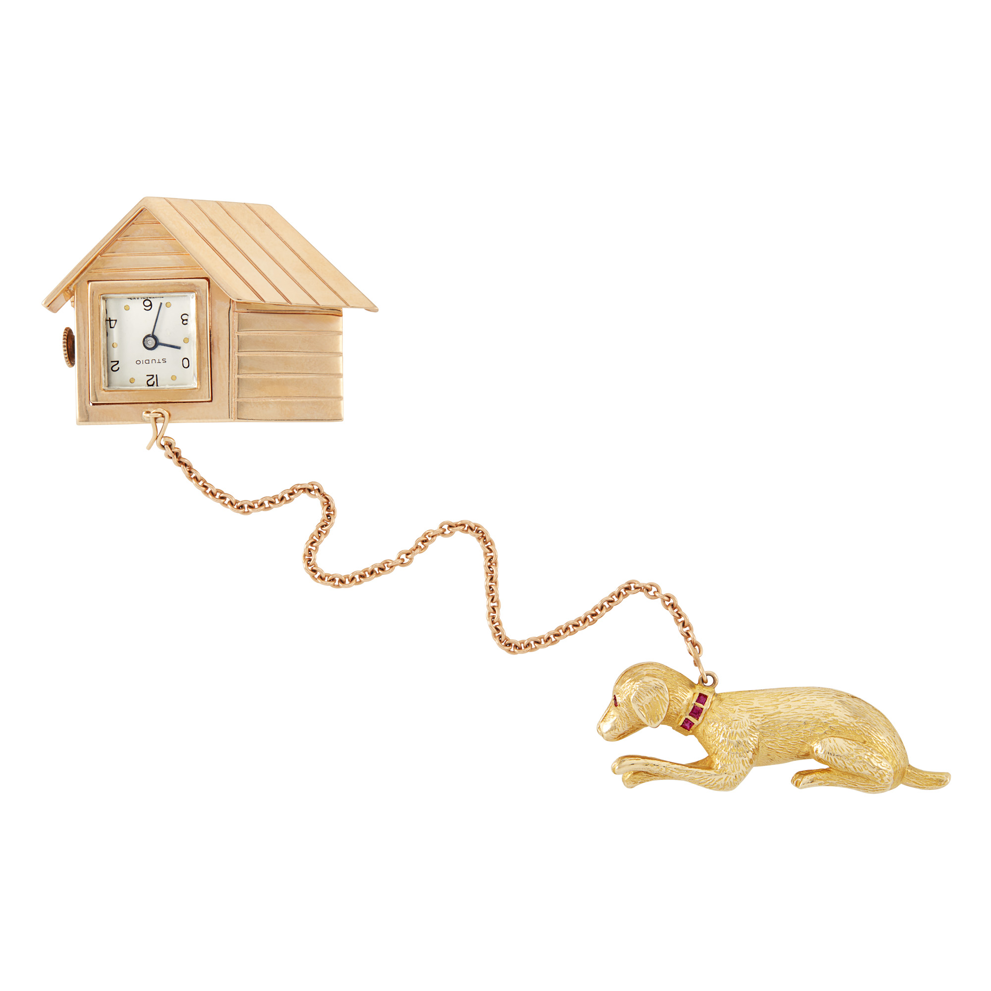 Lot image - Gold and Ruby Dog and Doghouse Lapel-Watch