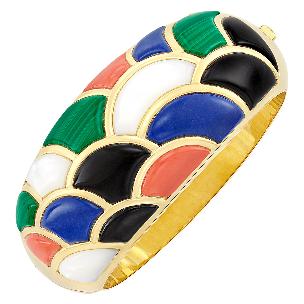 Lot image - Gold, Hardstone and Mother-of-Pearl Cuff Bangle Bracelet, Asch Grossbardt
