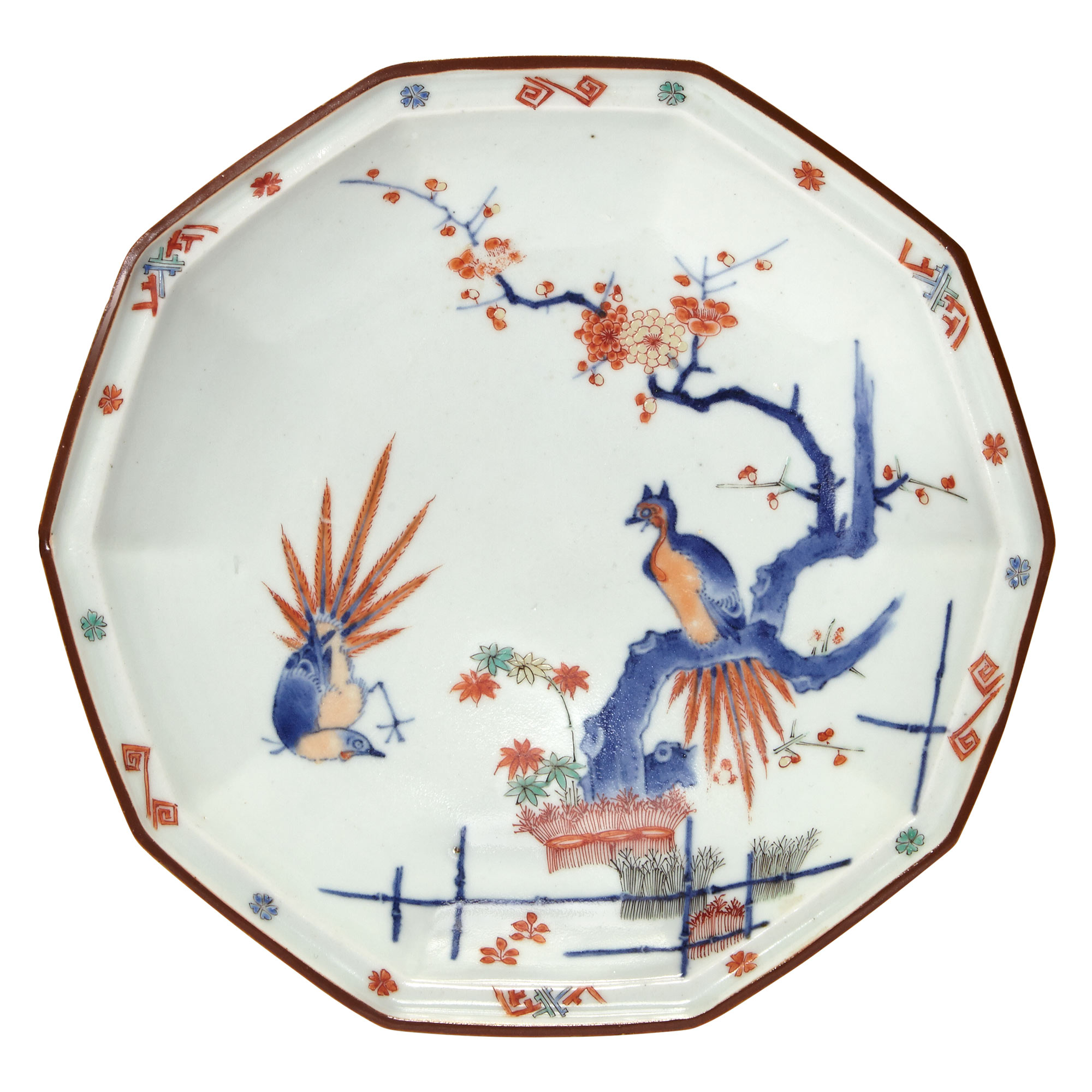 Lot image - Japanese Kakiemon Decagonal Golden Pheasant Dish