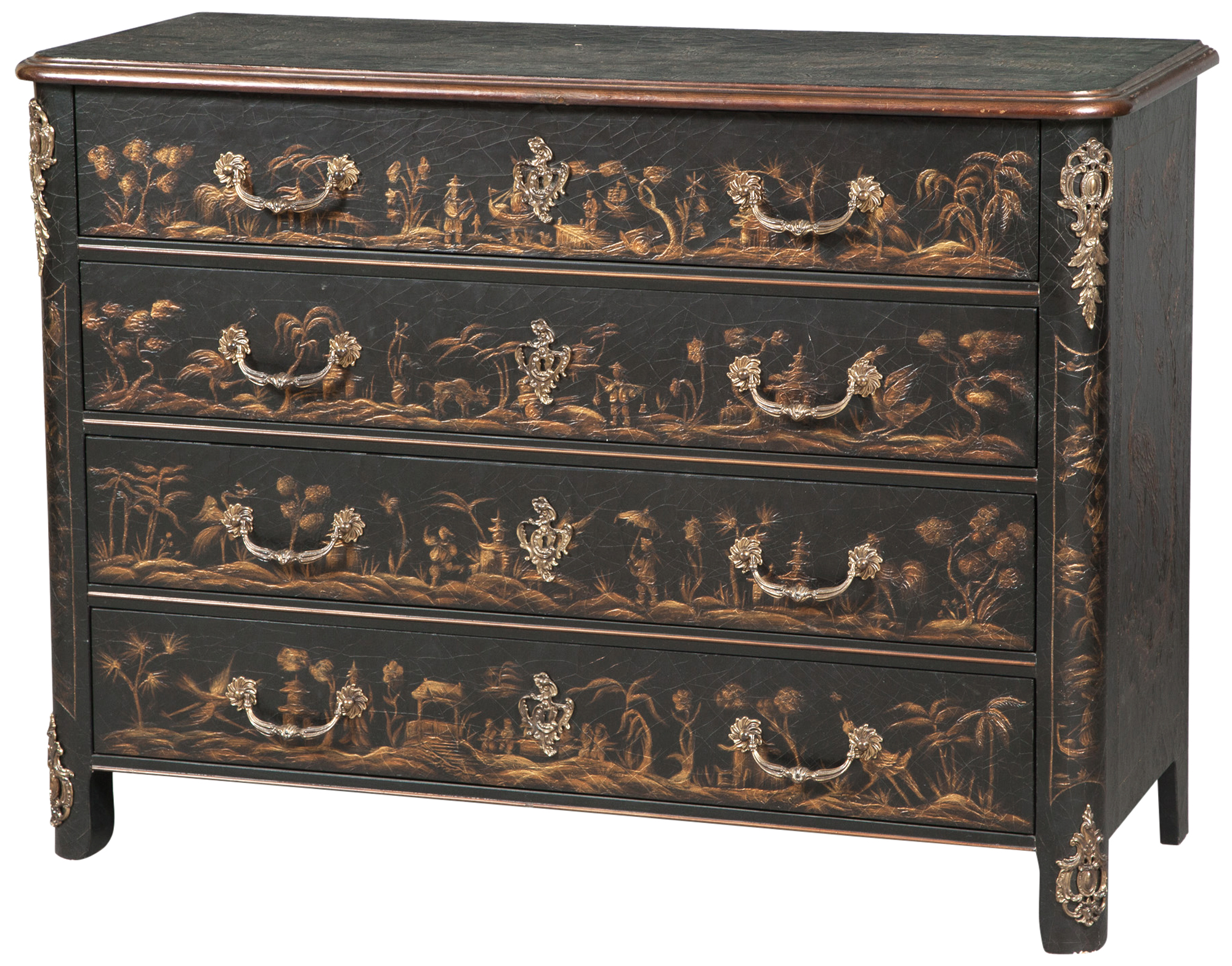 Lot image - Gilt-Metal Mounted, Black Lacquered and Gilt-Painted Commode