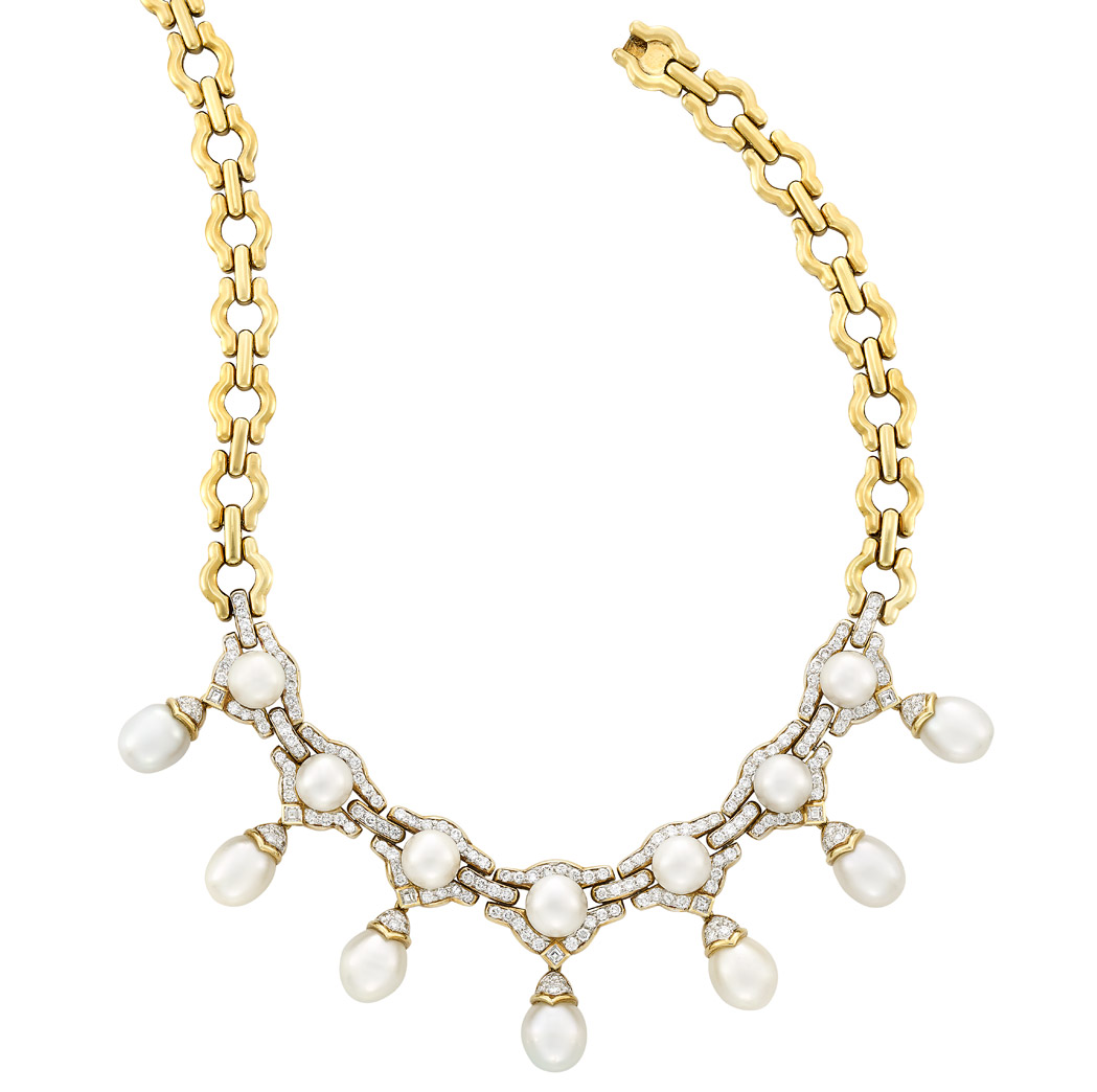 Lot image - Gold, South Sea Cultured Pearl and Diamond Necklace