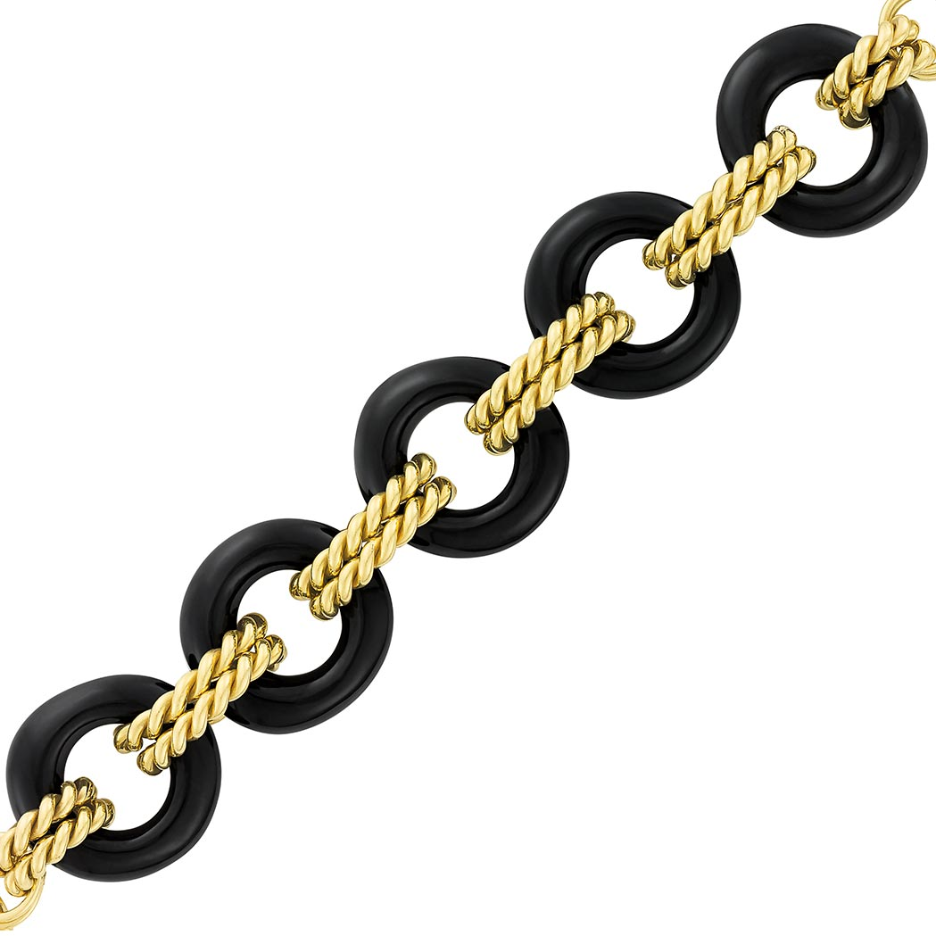 Lot image - Gold and Black Onyx Circle Link Toggle Bracelet