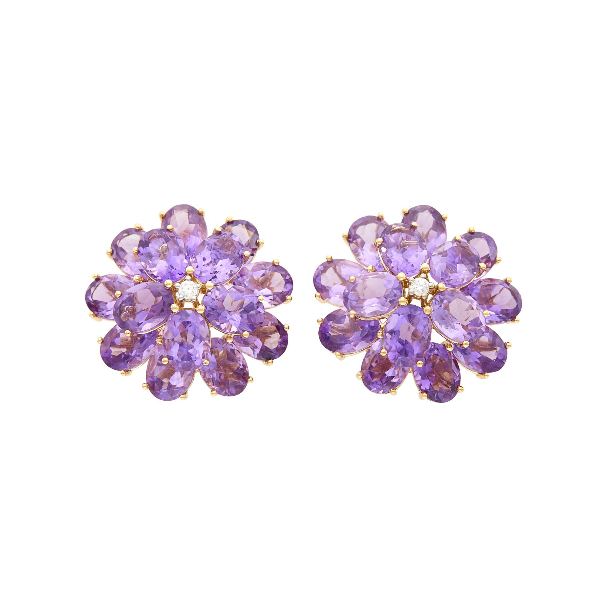 Lot image - Pair of Gold, Amethyst and Diamond Flower Earclips