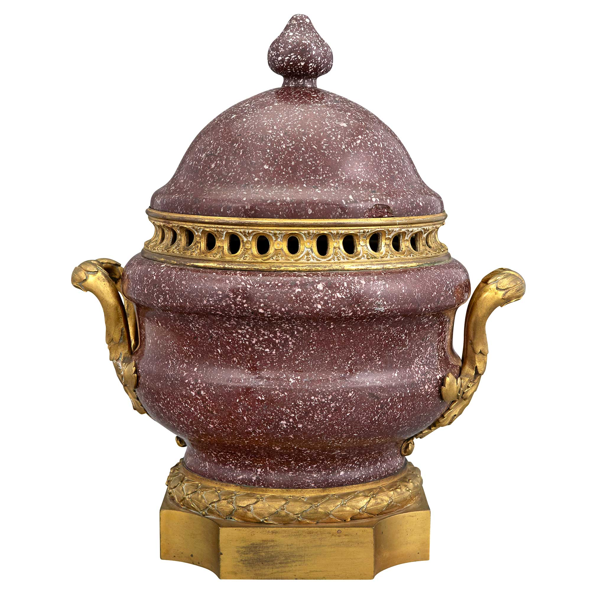 Lot image - Neoclassical Style Ormolu-Mounted Porphyry Potpourri Covered Urn