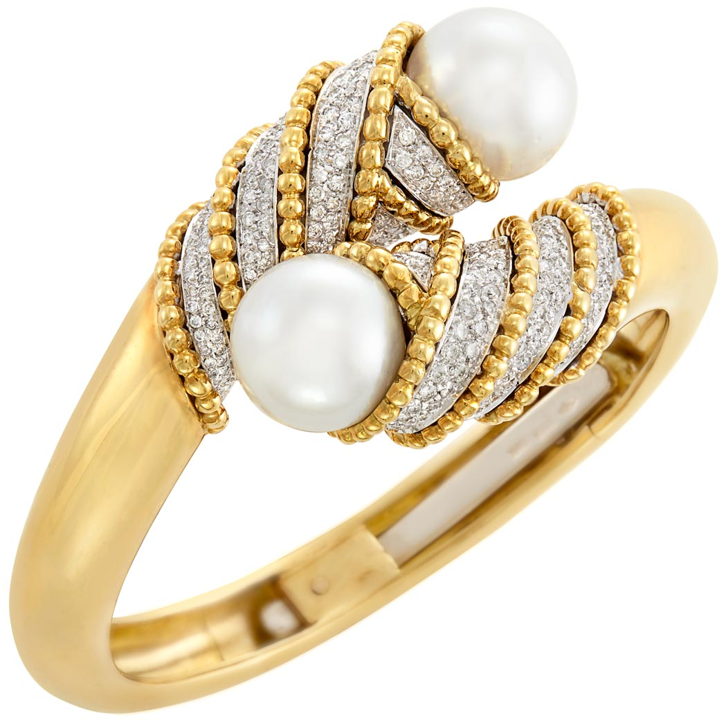 Lot image - Two-Color Gold, South Sea Cultured Pearl and Diamond Crossover Bangle Bracelet