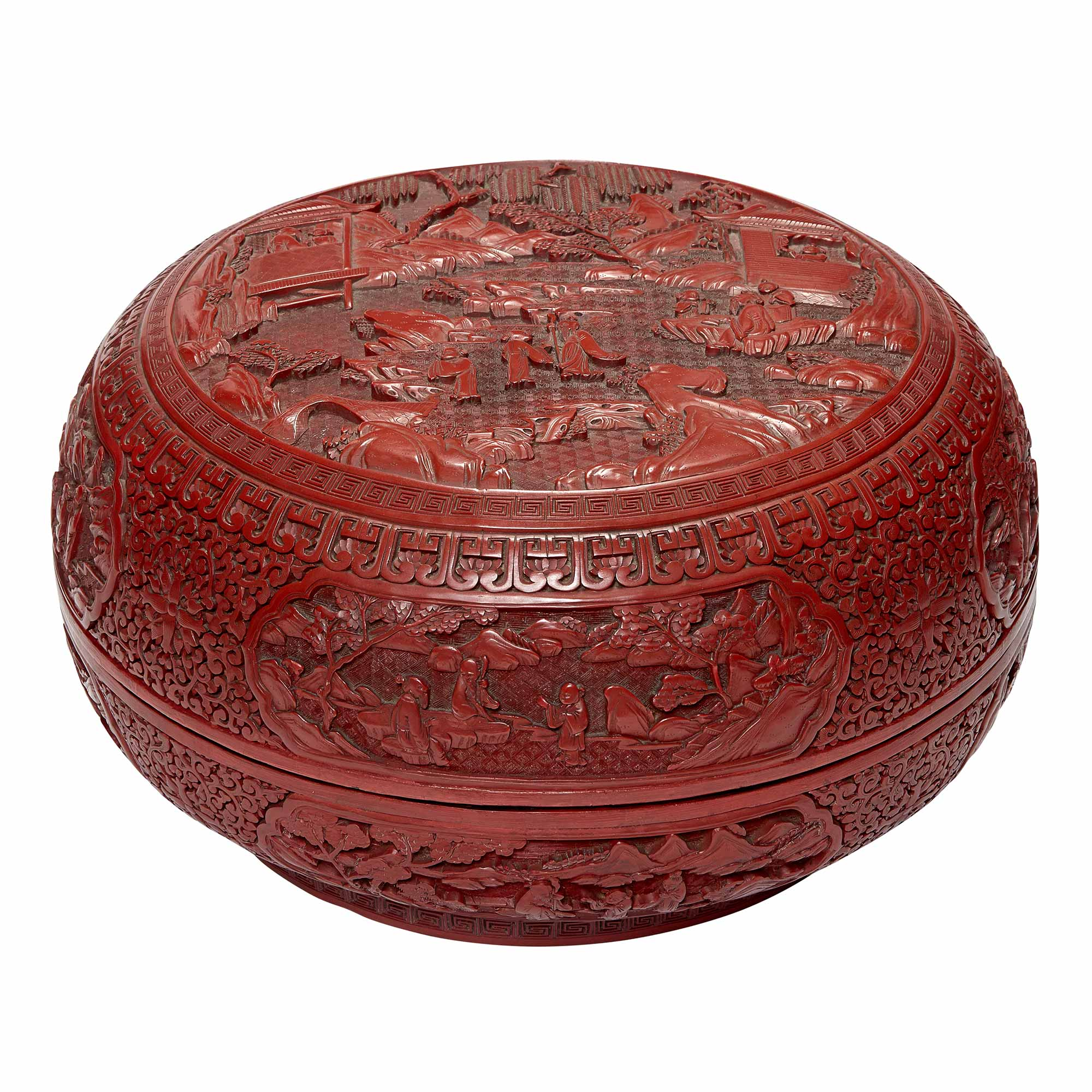 Lot image - Chinese Cinnabar Lacquer Circular Box and Cover
