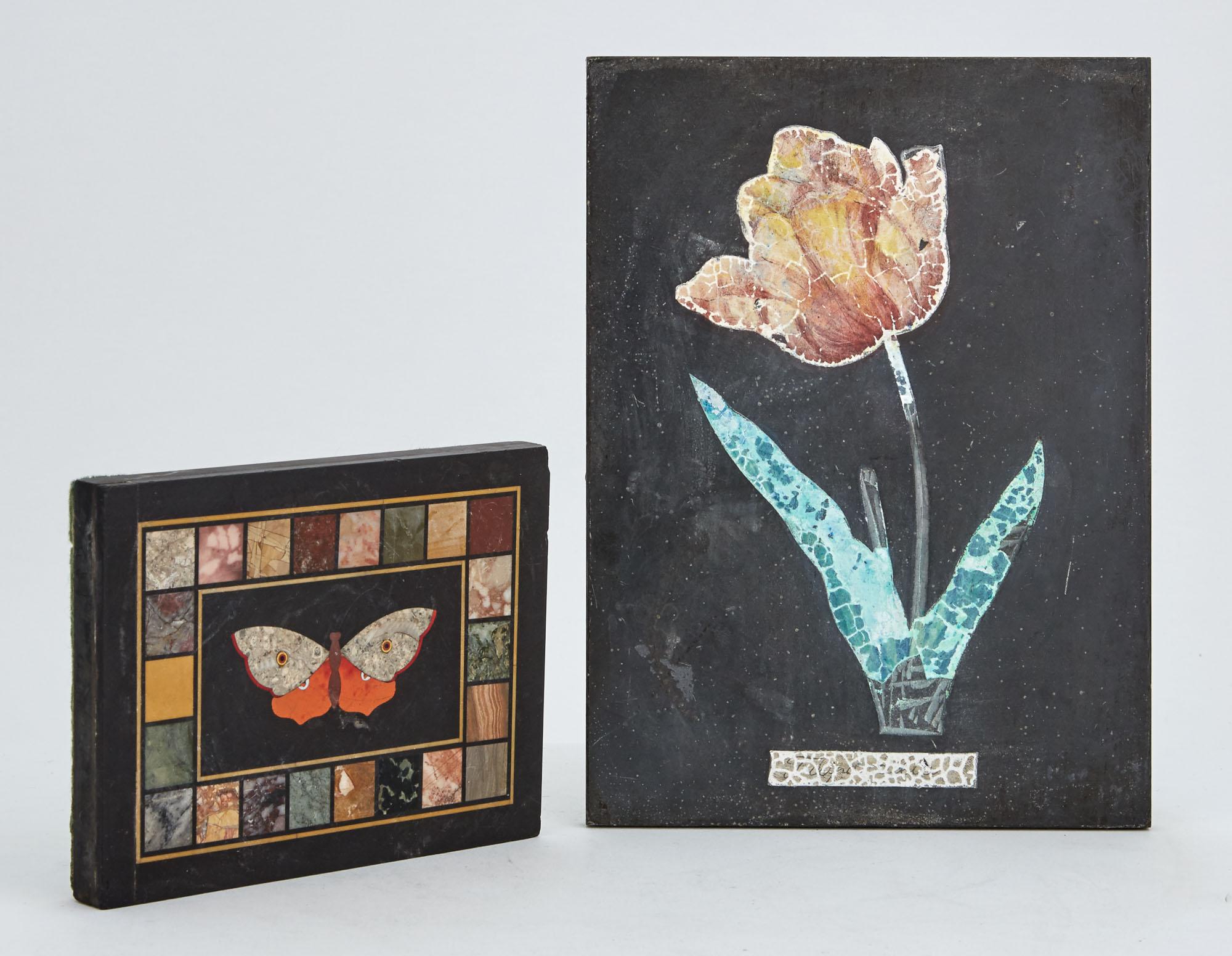 Lot image - Italian Pietra Dura Butterfly Decorated Desk Weight